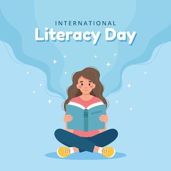 Concetto di giorno di alfabetizzazione donna che legge il libro mentre è seduta