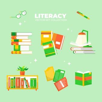 La raccolta di vettori per il giorno dell'alfabetizzazione può essere utilizzata per striscioni, poster, biglietti di auguri o social media