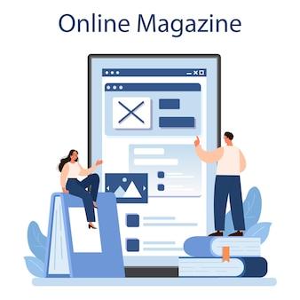 Servizio o piattaforma online di critica letteraria. giornalista professionista che fa recensione e classifica un'opera d'arte. rivista on line. illustrazione vettoriale piatta