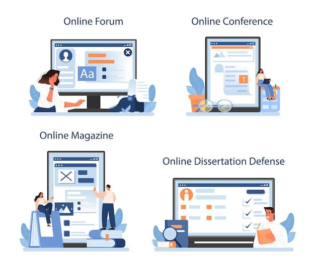 Servizio online di critica letteraria o set di piattaforme. illustrazione vettoriale piatta
