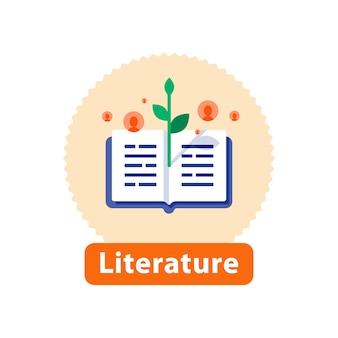 Lettura di letteratura, libro aperto, concetto di narrazione, best seller in libreria