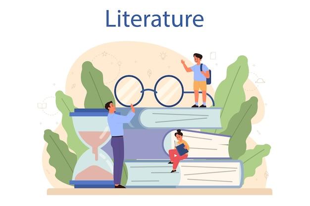 Concetto di materia scolastica di letteratura