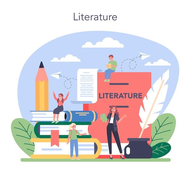 Illustrazione della materia scolastica di letteratura