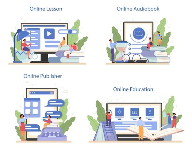 Servizio online di materie scolastiche di letteratura o set di piattaforme. idea di educazione e conoscenza. studia scrittore antico e romanzo moderno. lezione online, audiolibro, editore online.
