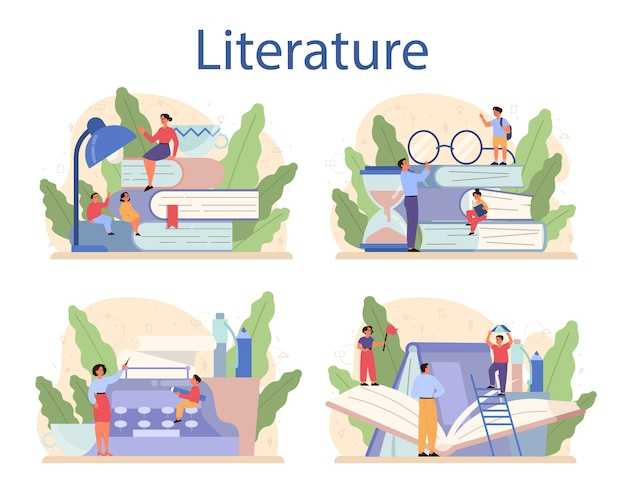 Set di materie scolastiche di letteratura. webinar, corso e lezione. idea di educazione e conoscenza. studia scrittore antico e romanzo moderno.