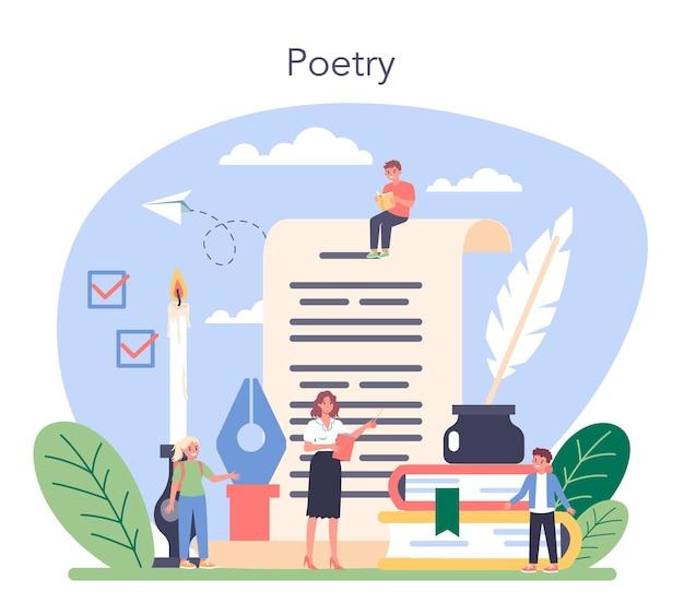 Materia scolastica di letteratura. studia scrittore antico e romanzo moderno. opera letteraria e poetica. idea di educazione e conoscenza. illustrazione vettoriale