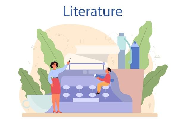 Materia scolastica di letteratura. webinar, corso e lezione.