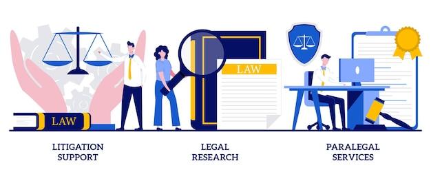 Supporto per controversie legali, ricerca legale, concetto di servizi paralegali con persone minuscole. insieme dell'illustrazione di vettore dello studio legale. contabilità forense, consulenza, raccolta dati, metafora del lavoro legale dell'avvocato.