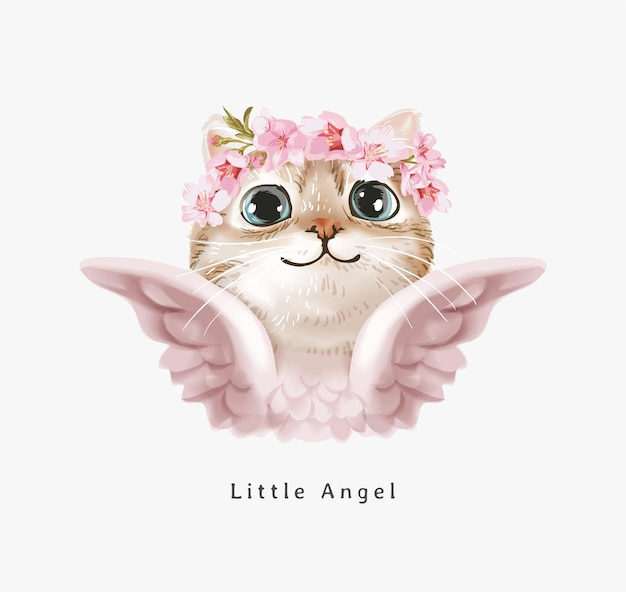 Slogan del piccolo angelo con un simpatico gatto angelo nell'illustrazione della corona floreale