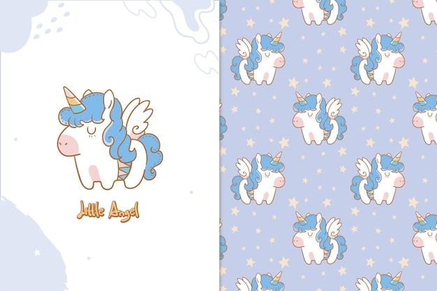 Modello senza cuciture di unicorno piccolo angelo