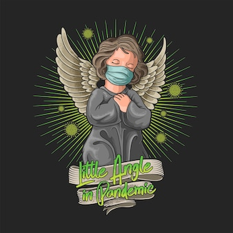 Angioletto che indossa una maschera all'illustrazione della pandemia