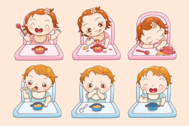 Piccolo bambino che mangia cibo nel proprio posto in stile linea