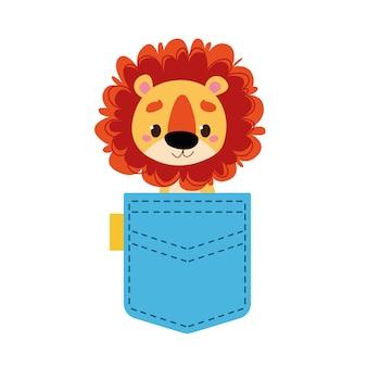 Un piccolo leoncino guarda fuori da una tasca blu illustrazione vettoriale in stile cartone animato per bambini