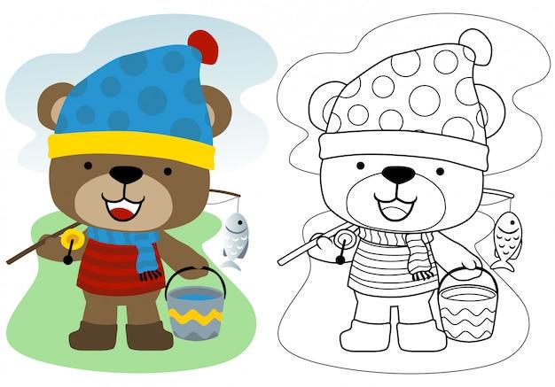 Cartone animato orsetto con attrezzatura da pesca