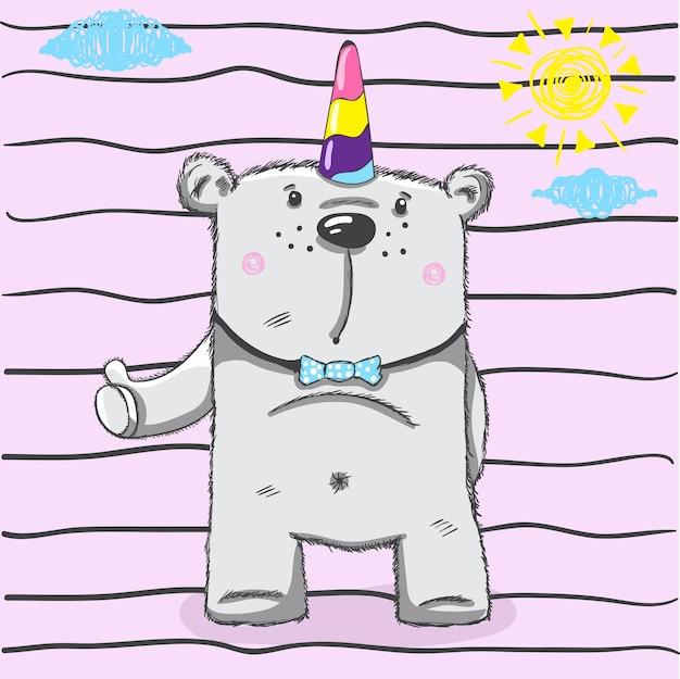Piccolo disegno della testa dell'orso per la stampa del bambino in t-shirt