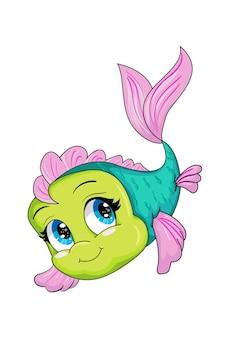 Un piccolo bellissimo pesce rosa verde con gli occhi azzurri, disegno del fumetto animale Vettore Premium