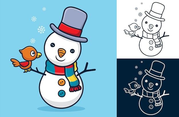 Piccolo uccello posatoio sulla mano del pupazzo di neve. illustrazione di cartone animato in stile icona piatta