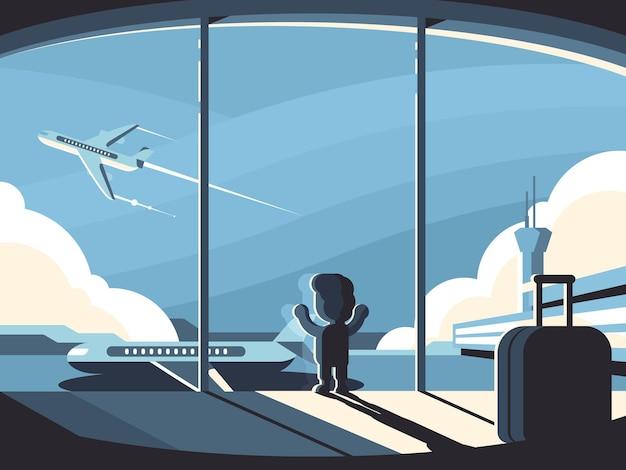 Il ragazzino nel terminal dell'aeroporto esamina l'aereo in partenza. illustrazione