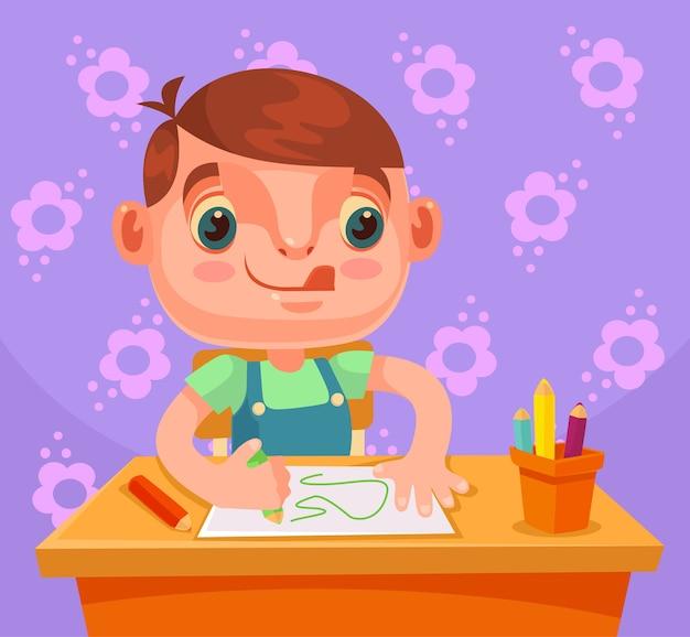 Il personaggio del ragazzino disegna l'immagine e fa i compiti