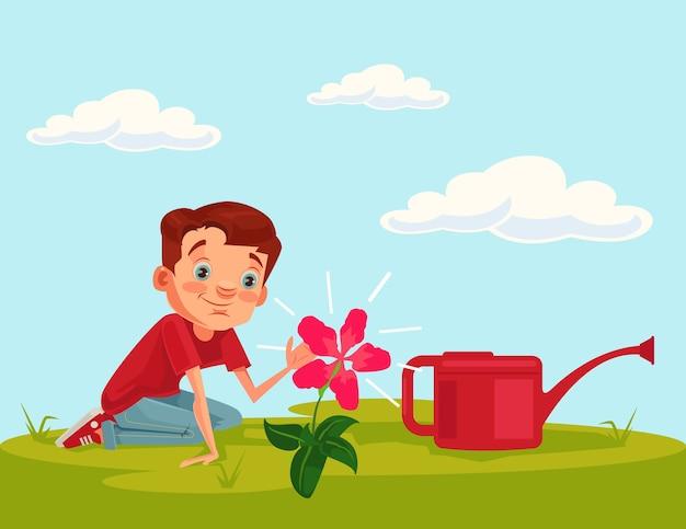 Il personaggio del bambino del ragazzino coltiva la pianta del fiore