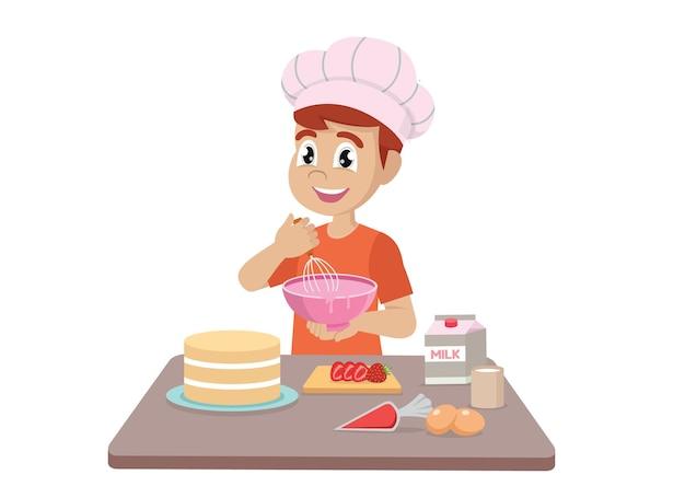 Ragazzino che cucina facendo una torta