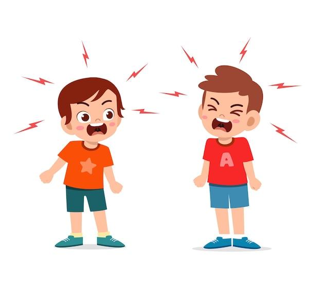 Il ragazzino combatte e discute con il suo amico