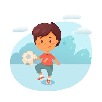Ragazzino che dà dei calci a palla piatta illustrazione, ragazzo carino che gioca a calcio all'aperto personaggio dei cartoni animati, calciatore, tifoso di calcio formazione allo stadio, parco giochi, hobby per bambini, tempo libero, passatempo