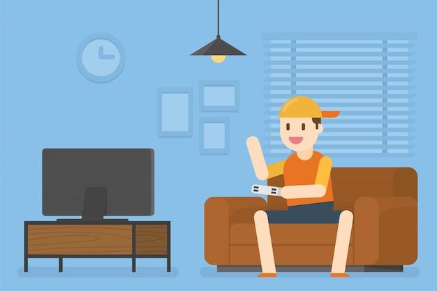 Little boy che gioca video gioco.