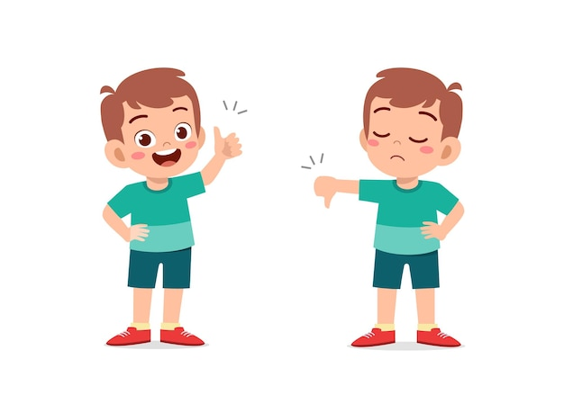 Il ragazzino mostra il pollice di gesto della mano su e il pollice verso il basso
