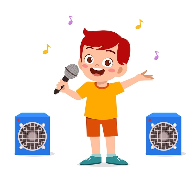 Il ragazzino canta una bella canzone sul palco
