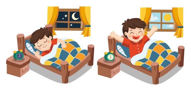 Un ragazzino che dorme su sogni di stasera, buona notte e sogni d'oro. si sveglia al mattino. vettore isolato
