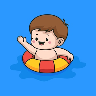 Ragazzino che nuota sull'illustrazione del fumetto della piscina