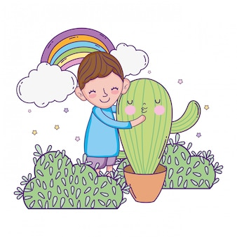 Ragazzino con carattere di cactus kawaii Vettore Premium