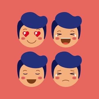Emoticon ragazzini imposta personaggi kawaii