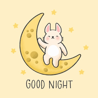 Piccolo coniglietto seduto sullo stile disegnato a mano di luna