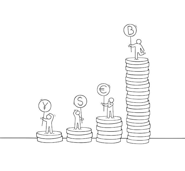Piccoli uomini d'affari con una pila di monete.