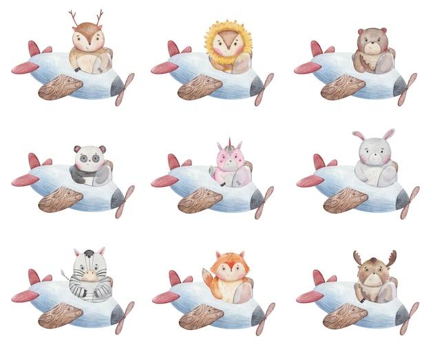 Piccoli animali del fumetto che volano in un aeroplano, volpe alce unicorno orso zebra panda leone lepre illustrazione per bambini disegno acquerello