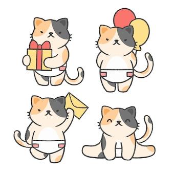 Raccolta del fumetto disegnato a mano del piccolo gatto Vettore Premium