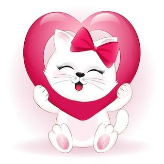 Piccolo concetto di giorno di san valentino gatto e cuore