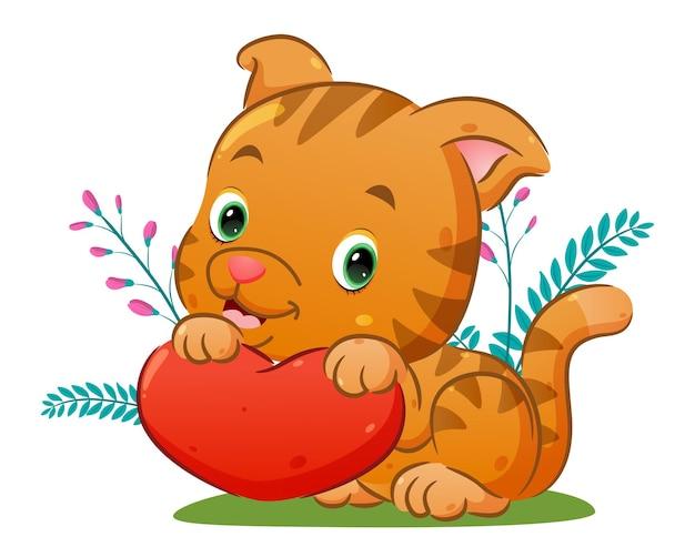 Il piccolo gatto tiene la piccola bambola dell'amore sulla sua mano sul parco dei fiori dell'illustrazione
