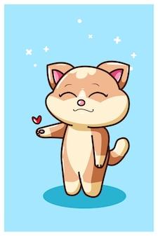 Il piccolo gatto in piedi con il disegno della mano di amore