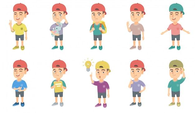 Piccolo set di caratteri del ragazzo caucasico