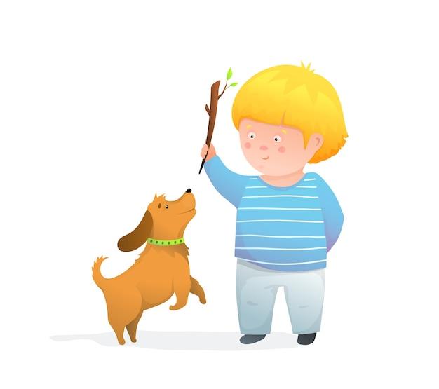 Piccolo bambino e il suo cane che giocano a lanciare il bastone, fumetto felice dei bambini eccitati. stile acquerello.