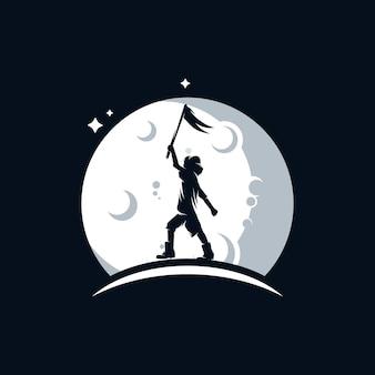 Il bambino tiene una bandiera sul logo della luna