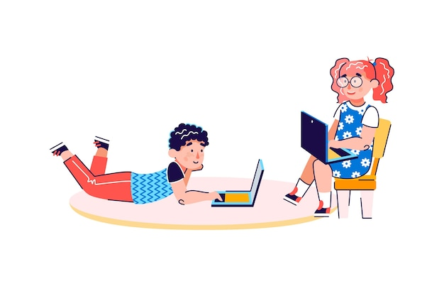 Personaggi dei cartoni animati dei bambini piccoli utilizzando laptop