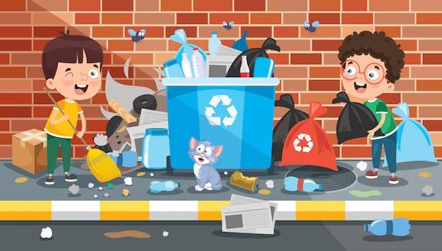 Piccoli bambini che puliscono e che riciclano immondizia Vettore Premium
