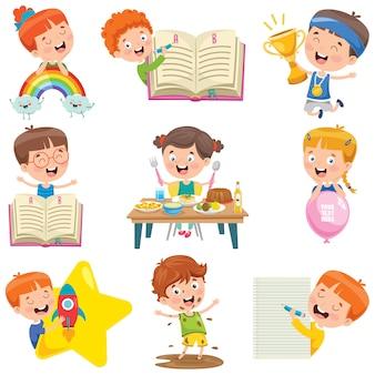 Piccoli bambini che fanno varie attività
