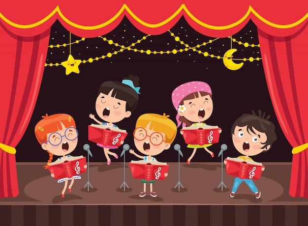 Piccoli bambini che eseguono musica in scena
