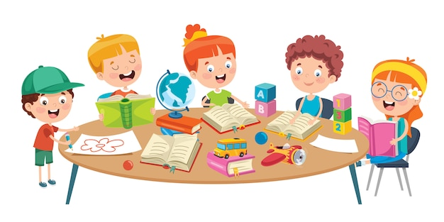 Piccoli bambini che studiano all'aula