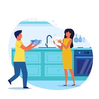 Piccoli bambini che lavano l'illustrazione di vettore dei piatti